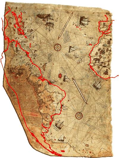 Западный берег Африки, южное побережье Южной Америки и северный берег Антарктиды на карте (1513 год), составленной адмиралом военного флота Оттоманской империи и картографом Пири Рейсом, живший в первой половине XVI столетия.