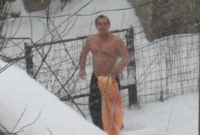 Обтирание снегом.