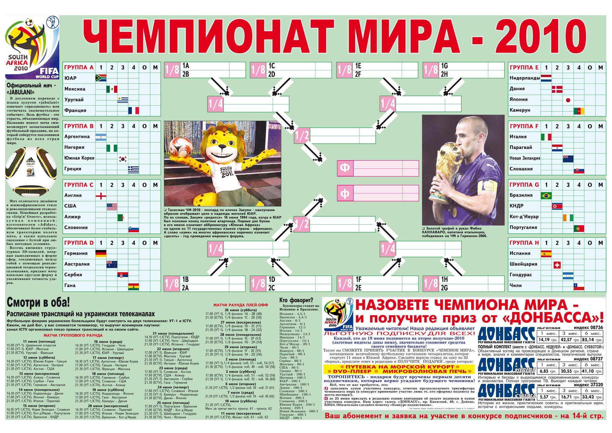 Футбол 2010 календарь