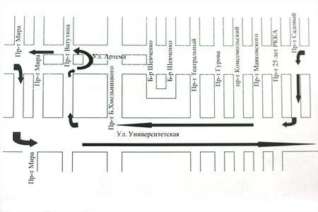 Схема объезда по ул. Артема