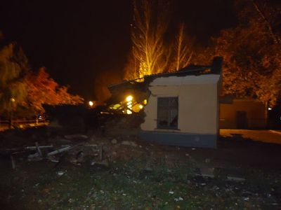 здание морга железнодорожной больницы разрушено
