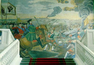 Знаменитая мозаика Полтавская баталия до сих пор украшает Академию наук в Питере.