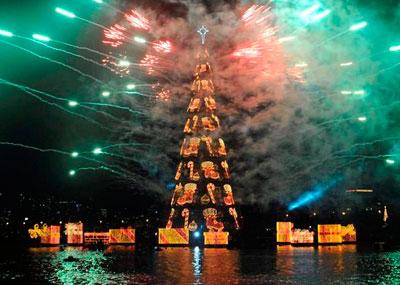 Самая большая плавучая ёлка зажгла огни в Рио-де-Жанейро на озере Родриго-де-Фрейтас под залпы фейерверка.