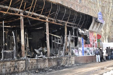 Пожар в магазине в центре Донецка