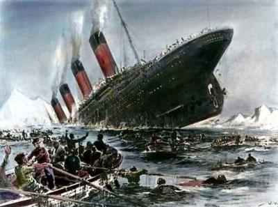 Картина Титаник уходит под воду немецкого художника Вилли Штёвера.