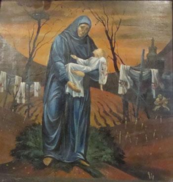 Пронзительная картина Чернобыль - трава горькая родилась после поездки в Седнев, расположенный неподалеку от ЧАЭС. На переднем плане - Матерь Божья в темных одеждах держит на руках больную Украину. И надеется, что та обязательно выздоровеет от всех своих хворей, в том числе духовных. Под ногами у Богоматери - не просто трава, а разновидность полыни, которая называется… чернобыль.