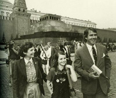 Саманта с родителями на Красной площади.