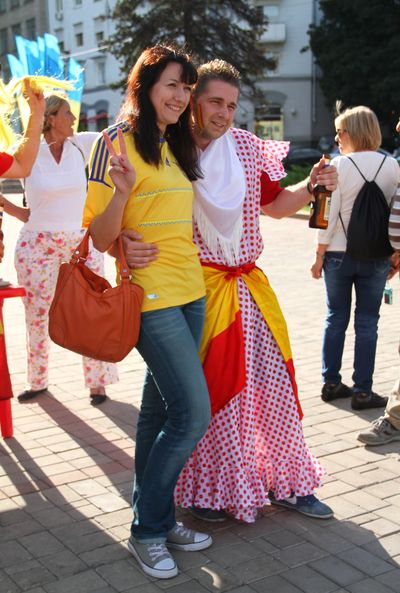 фанат перед матчем Португалия - Испания. Полуфинал Евро-2012 в Донецке