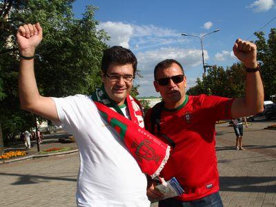 фанаты перед матчем Португалия - Испания. Полуфинал Евро-2012 в Донецке