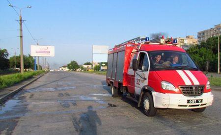 В Мариуполе загорелся длинномер