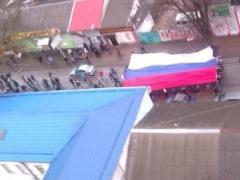 Над мэрией Симферополя реет гигантский флаг России (ФОТО)