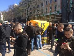 В центре Киева возле Сбербанка появился «палаточный городок»