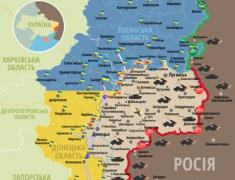Опубликована карта обстрелов в зоне АТО