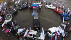 На площади в Луганске изобразили «компас», указывающий в сторону РФ