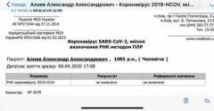 Александр Алиев опубликовал результат теста на коронавирус