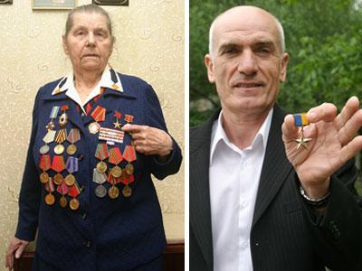 «Донбасс» убедил Веру Логвинову вернуть награды на пиджак. Николай Жауров демонстрирует звезду Героя Украины.