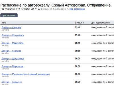 В Яндекс.Расписаниях появились автовокзалы Донецка