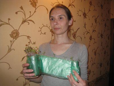 Елена Коляда показала сильную рассаду,  которая уютно устроилась в ленте.