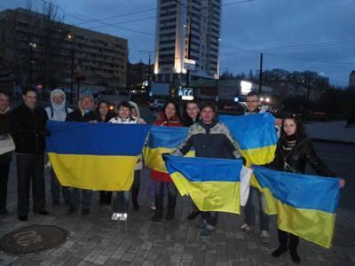 Донецкая милиция испугалась огромного флага Украины (ФОТО)
