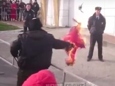 Как казаки в России сожгли флаг Турции (ВИДЕО)
