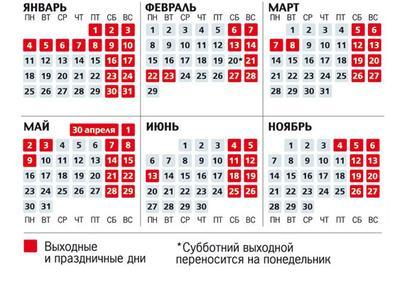 Календарь 2017 года с праздничными днями и выходными днями россия