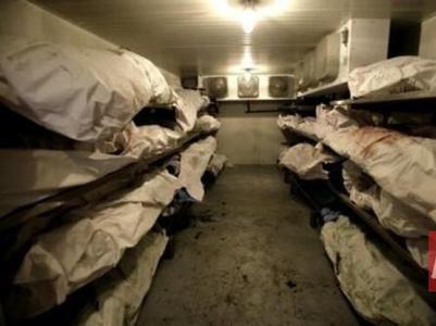 В морге Новоазовска  28 тел убитых оккупантов ожидают отправку на родину