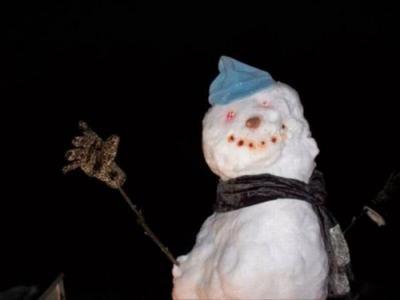 В Германии снеговик остановил поезд