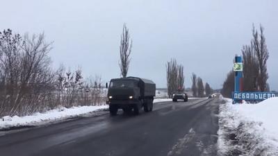 Военная колонна техники покинула Луганск. ВИДЕО
