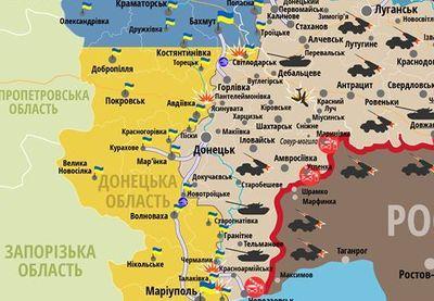 Опубликована обновленная карта обстрелов в зоне АТО
