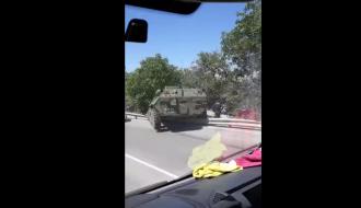 В аннексированном Крыму БТР слетел с трассы