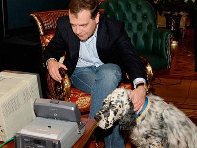 Дмитрий Медведев с английским сеттером изучают монитор камер видеонаблюдения.