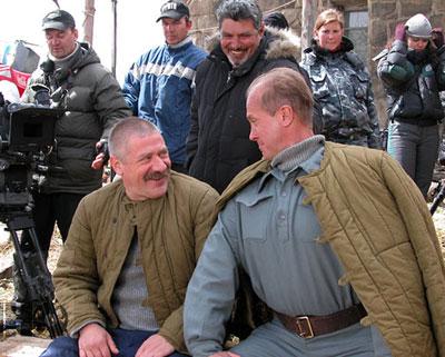 Два Андрея - Краско и Панин - на съемочной площадке фильма Сволочи.